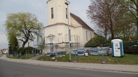 Trinitatiskirche Gablenz Sanierung Baufortschritt Aufbau Rüstung