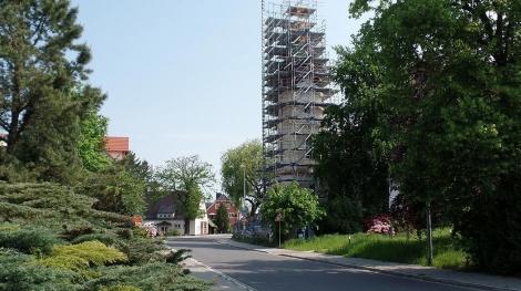 Trinitatiskirche Gablenz Sanierung Baufortschritt Fertigstellung Rüstung